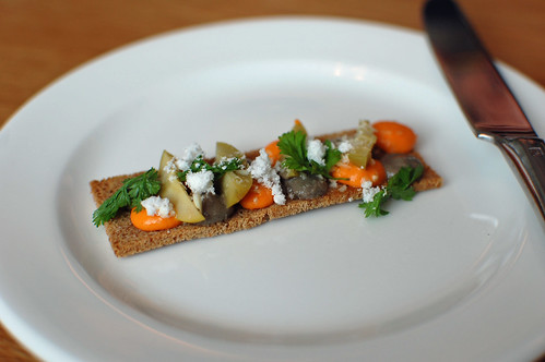 Crostini de Romesco and Gordal Olives, Almonds and Jerez