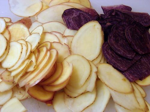 potatoes, sliced thin