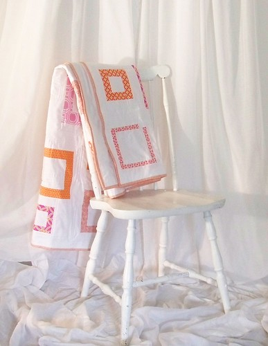 folded quilt pink and orange squares