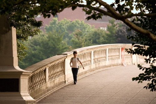 Woman on bridge