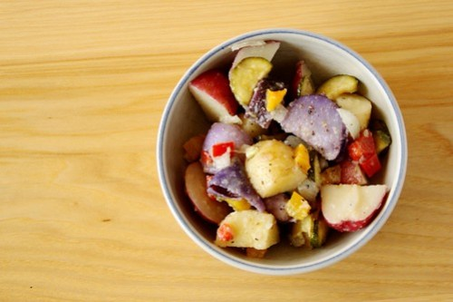 multi-colored potato salad