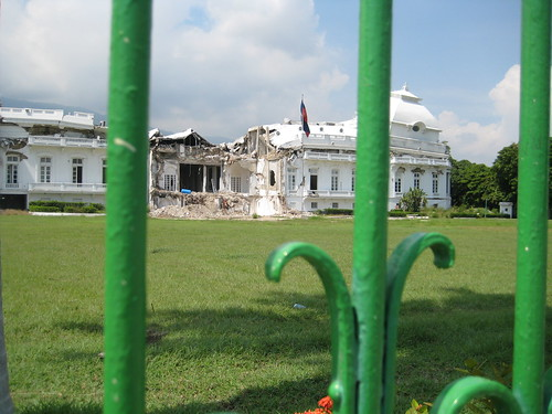 Haiti presidential palace and fence
