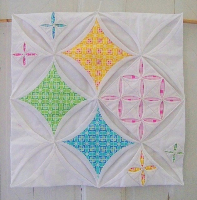cathedral windows variation for doll quilt swap 9