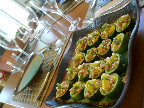 couscous, summer squash and cucumber appetizer