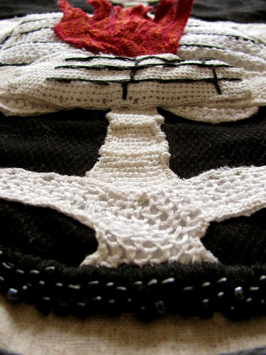 Stumpwork Skeleton-Fire Banner Detail1