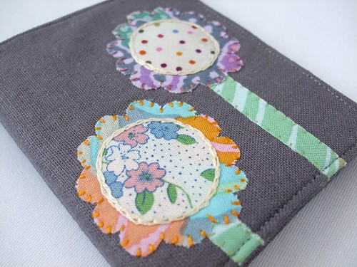 Needle book with flower applique