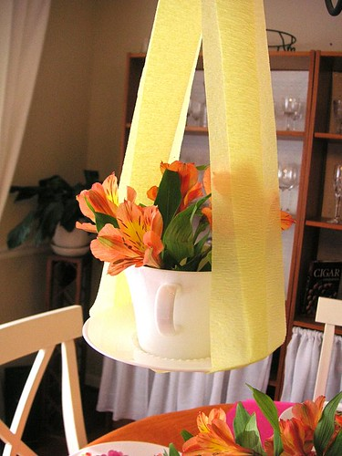 Hanging tea cup flowers