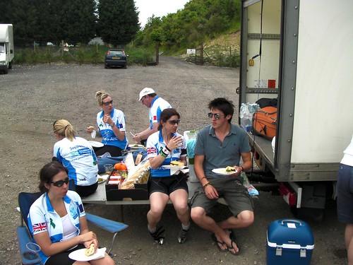 Picnic lunch in a pub car-park