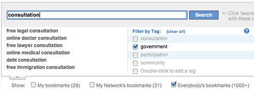 Search bookmarks filtered by tag in delicious