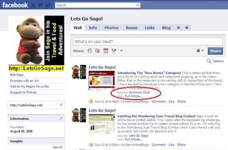 Lets Go Sago! Facebook Fanpages Last Food Blog Prompt