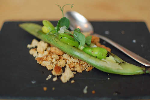 Charred Broad Beans, Pea Puree and Sao Jorge Cheese