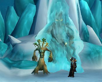 thron poses in front of the frozen throne