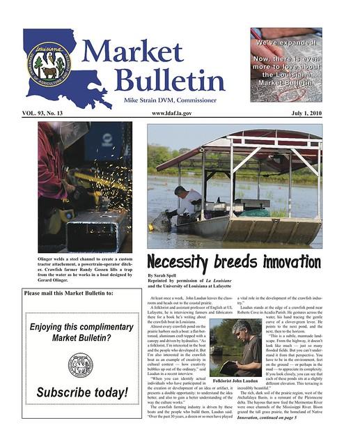 """LDAF """"Market Bulletin"""" Front Page (July 2010)"""