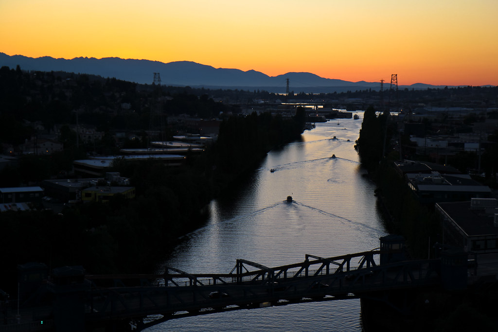 Ship canal sunset