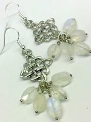 Moonstone and Silver Dangle Earrings