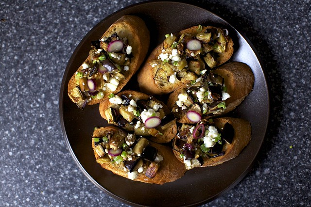 eggplant salad on toasts