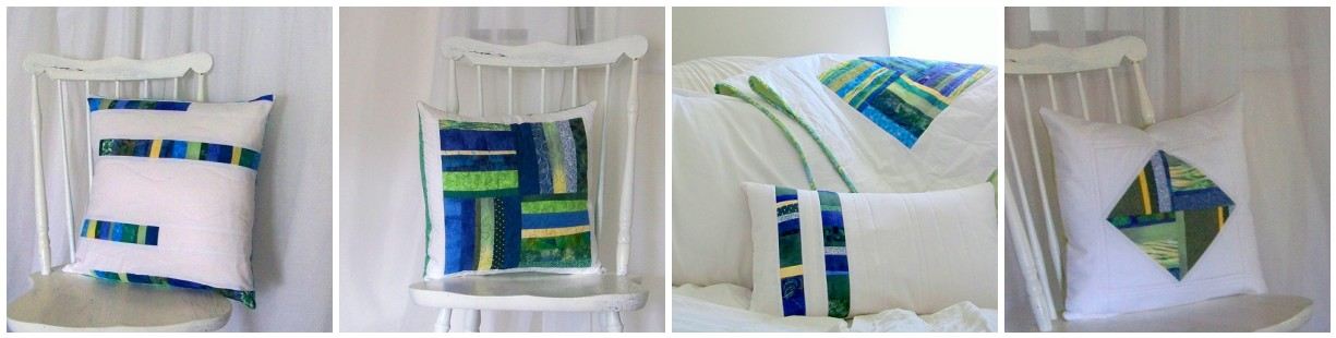 watercolors modern patchwork pillow series