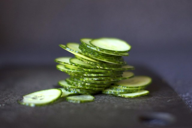 paper-thin cucumber slices