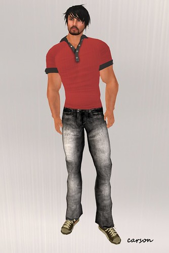 Wilson's Red Button down Polo and Pretty worn black jeans CFTM Hunt