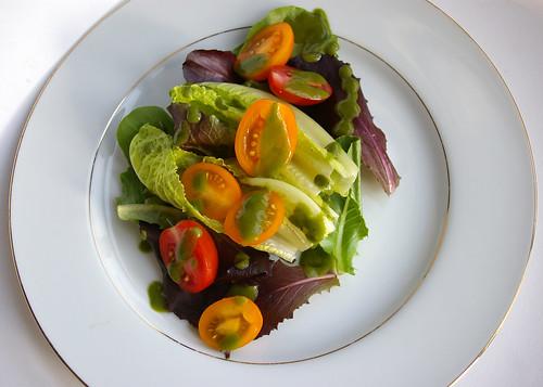 Simple salad with Basil Vinaigrette