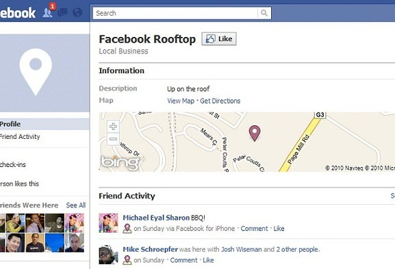 Facebook Places with Bing Maps Launches