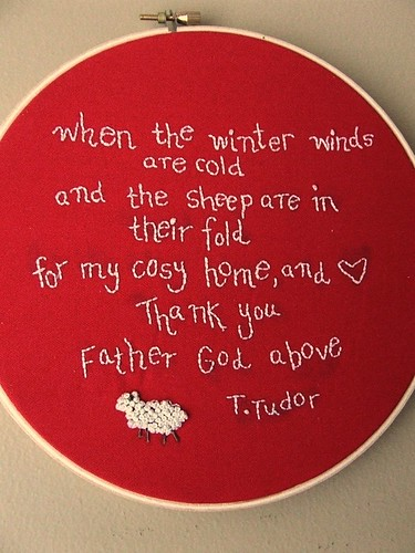Tudor quote embroidery