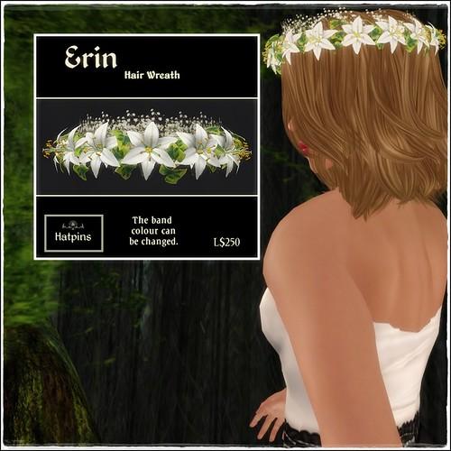 Hatpins - Erin Wreath - Snow Lilies