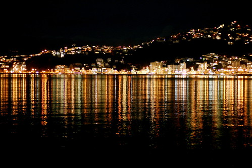 Wellington Harbour at night