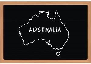 The shape of Australia drawn on a blackboard