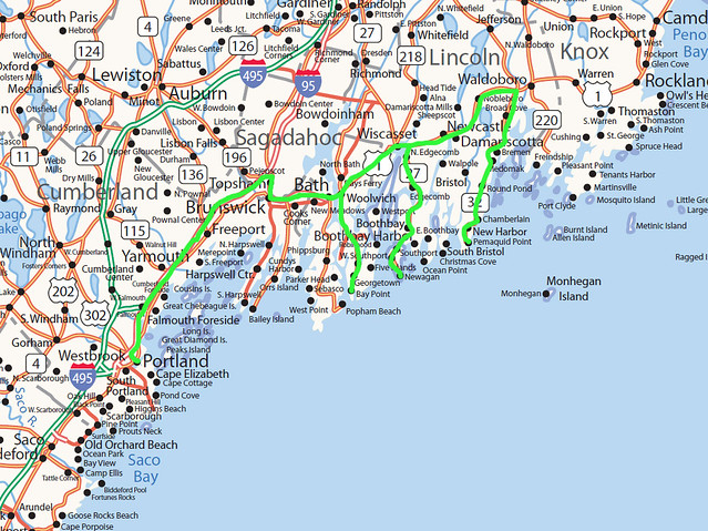 Our route is in green.