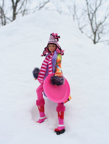 Momoko Climbs The Hill With Her Snow Saucer
