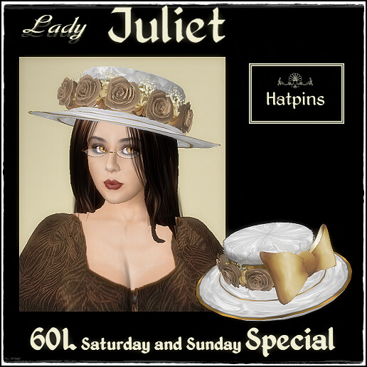 Hatpins - Lady Juliet Hat - White and Fawn - 60L special