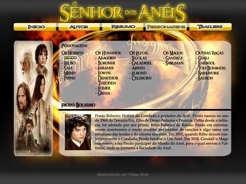 Layout da Página dos Personagens