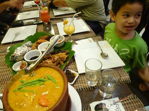 Little Gabby about to feast on Mama Chit's Special & kare-kare