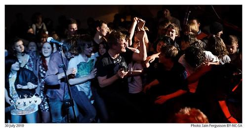 The crowd  mobs the Die! Die! Die! singer