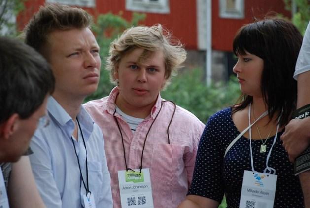 Emanuel Karlsten, Anton Johansson och Mikaela Waxin på Sweden Social Web Camp 2010