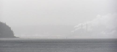 stacks in the fog
