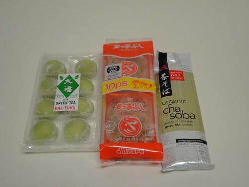 Green tea mochi, katsuo bushi, green tea soba noodles