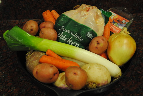 Ingredients for Keller's roasted chicken with root vegetables