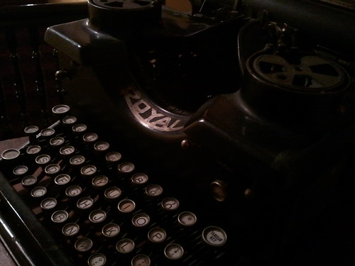 royal typewriter shown at an angle