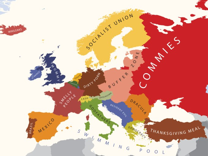 map of europe for mapping Mapping European Stereotypes – Brain Pickings
