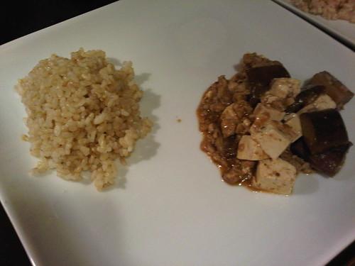 Brown rice w/mapo tofu, eggplant and chicken
