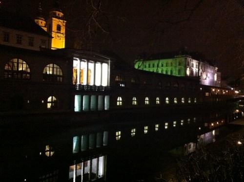 Ljubljana - Market building at night