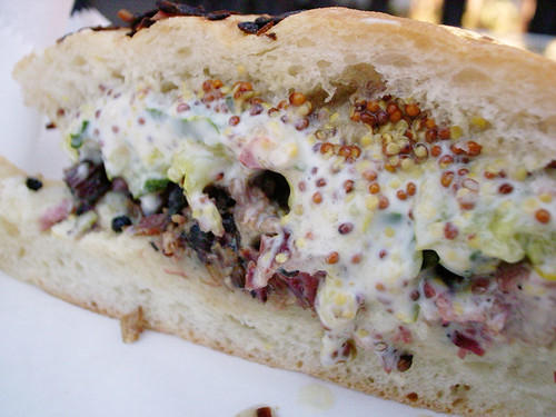 Pastrami sandwich from Almond
