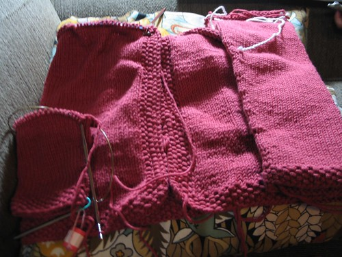 fresh picked cardi in progress