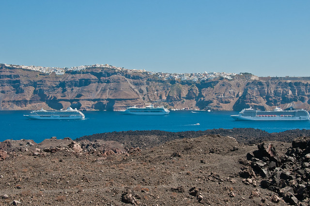Cruise liners at Santorini