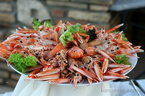 Scampi, prawns with claws, at an Italian wedding