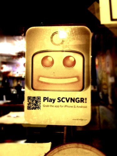 Play SCVNGR window cling and poster with QR Code