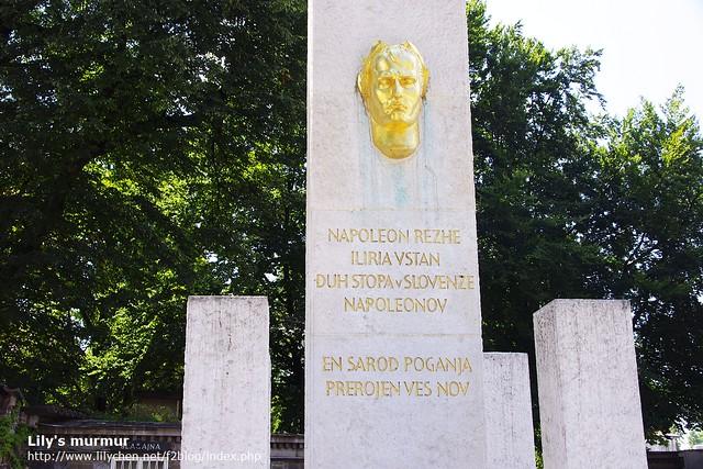 近拍這個紀念碑,看起來拿破崙有點苦瓜臉,這是斯洛維尼亞人的印象嗎?(笑)