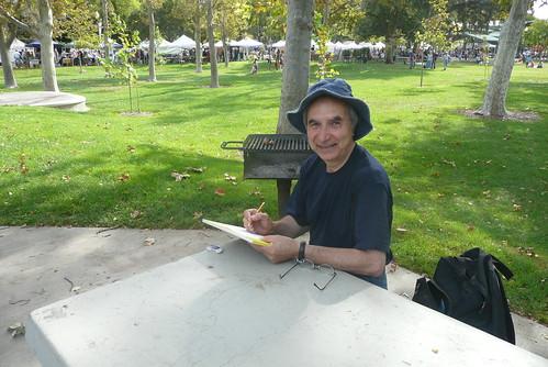 rahman sketching in the park